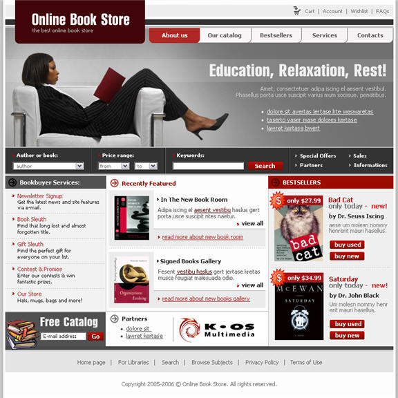 bookstore website template free