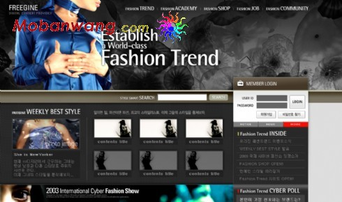Fashion show web page templates